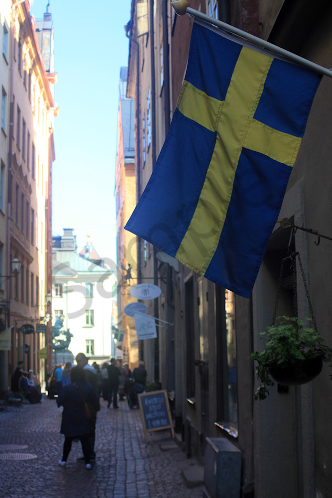 Swedish Flag and Street Scene