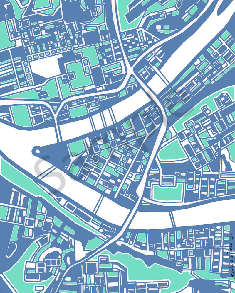 Pittsburgh City Map as Contemporary Art | Purchase Art Prints of Downtown Pittsburgh