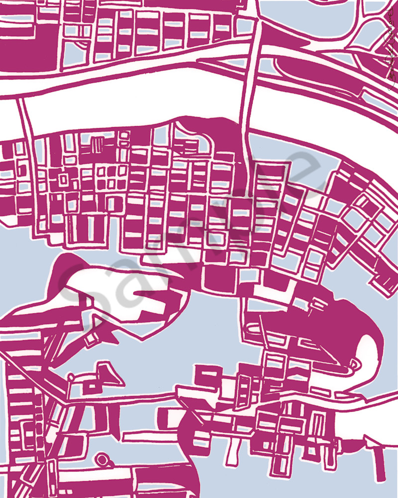 Pittsburgh South Side Art Prints | Contemporary Art of Abstract Pittsburgh Street Maps