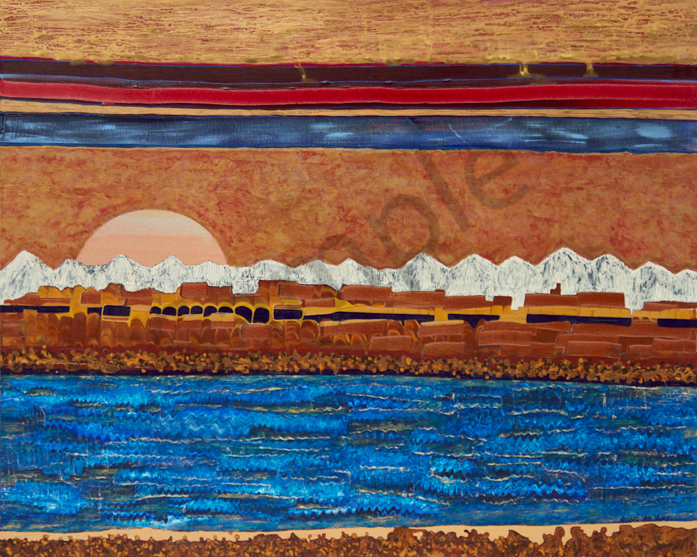 Colorado River southwest mountain landscape original painting and art print for sale from Richard Van Vliet
