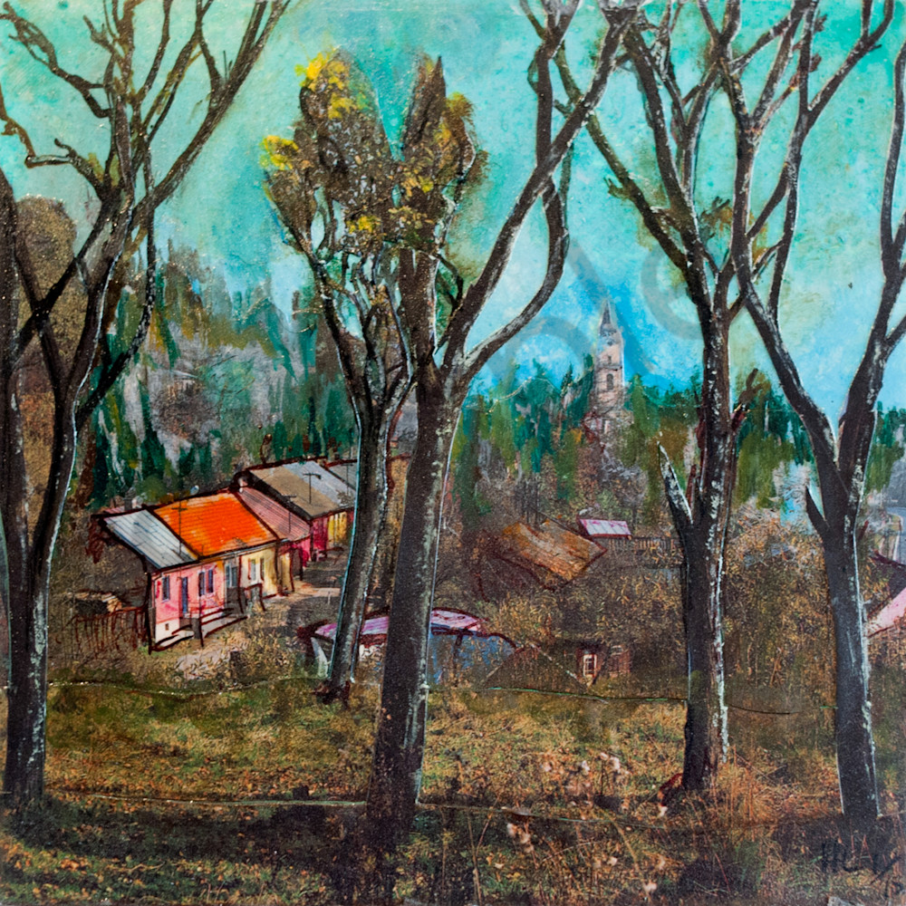 village with trees