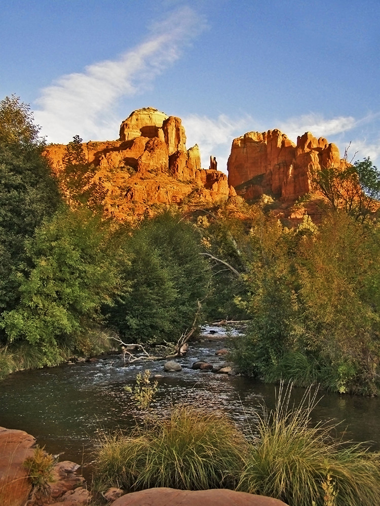 Red Rocks at Oak Creek at Sunset