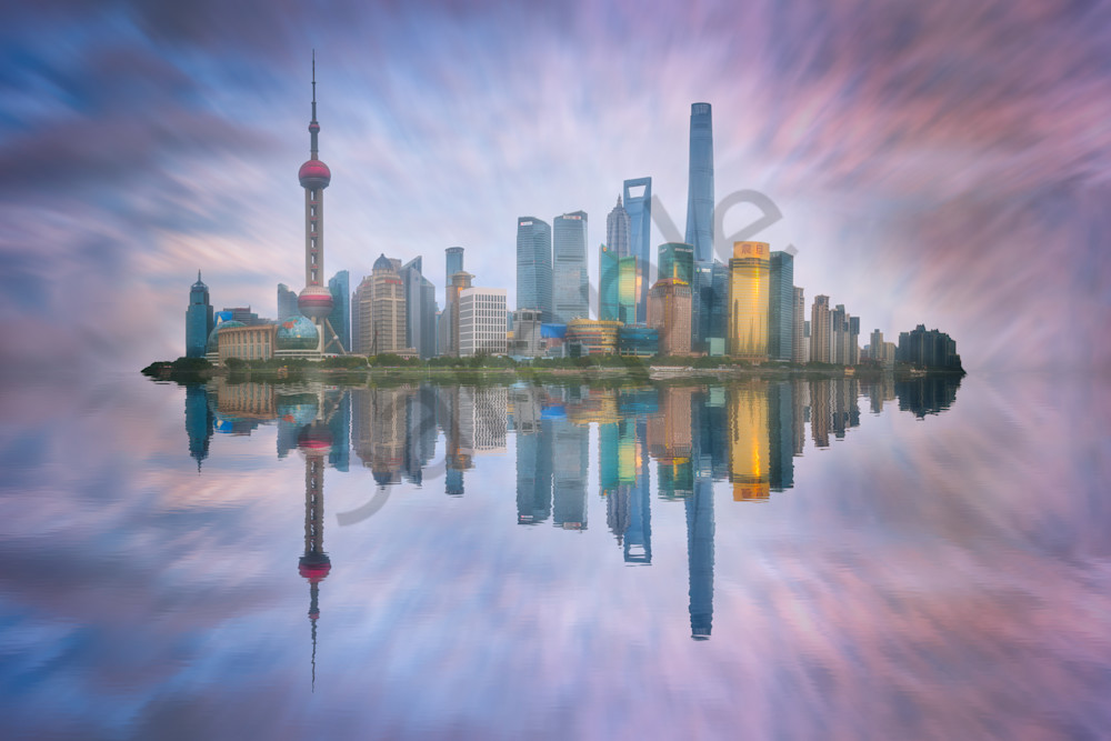 Shanghai Skyline at Dusk, Pudong, Shanghai, China