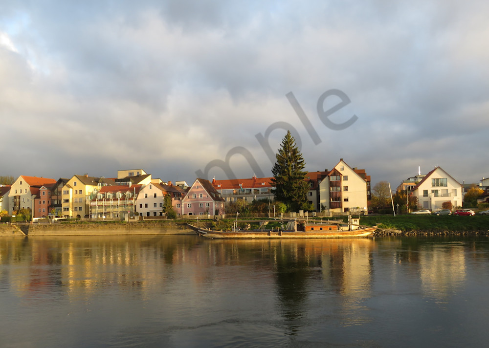 Reflections on the Danube River at Regensburg, Germany