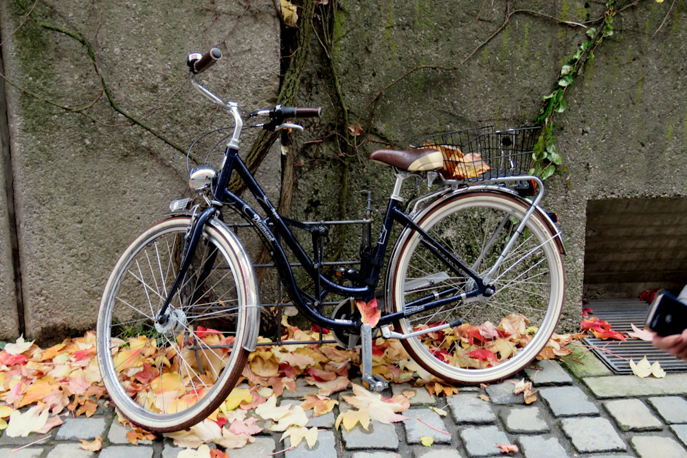 Bicycle along wall in Passau, Germany