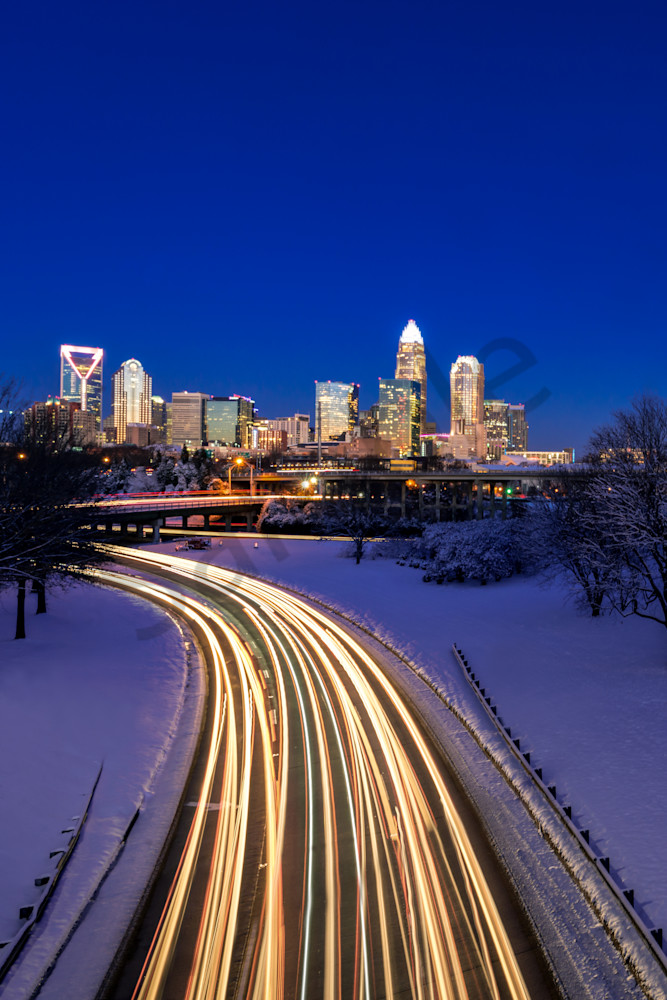 Charlotte Winter Skyline Photograph for Sale as Fine Art