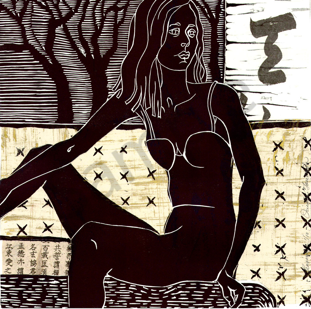 'Pensive'-linocut handprint, archival reproductions, for sale