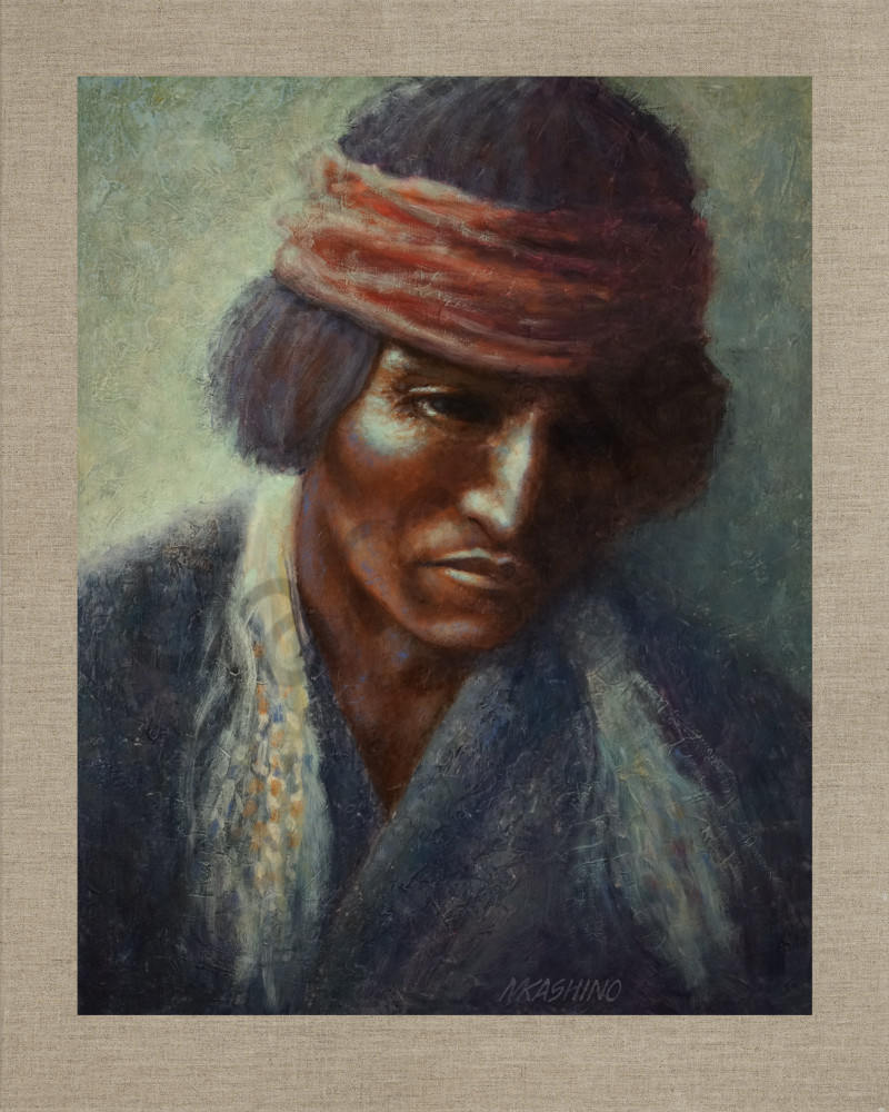 Medicine Man Navajo, Native Americans, American Indians, Portraits, Oil Paintings, Mark Kashino