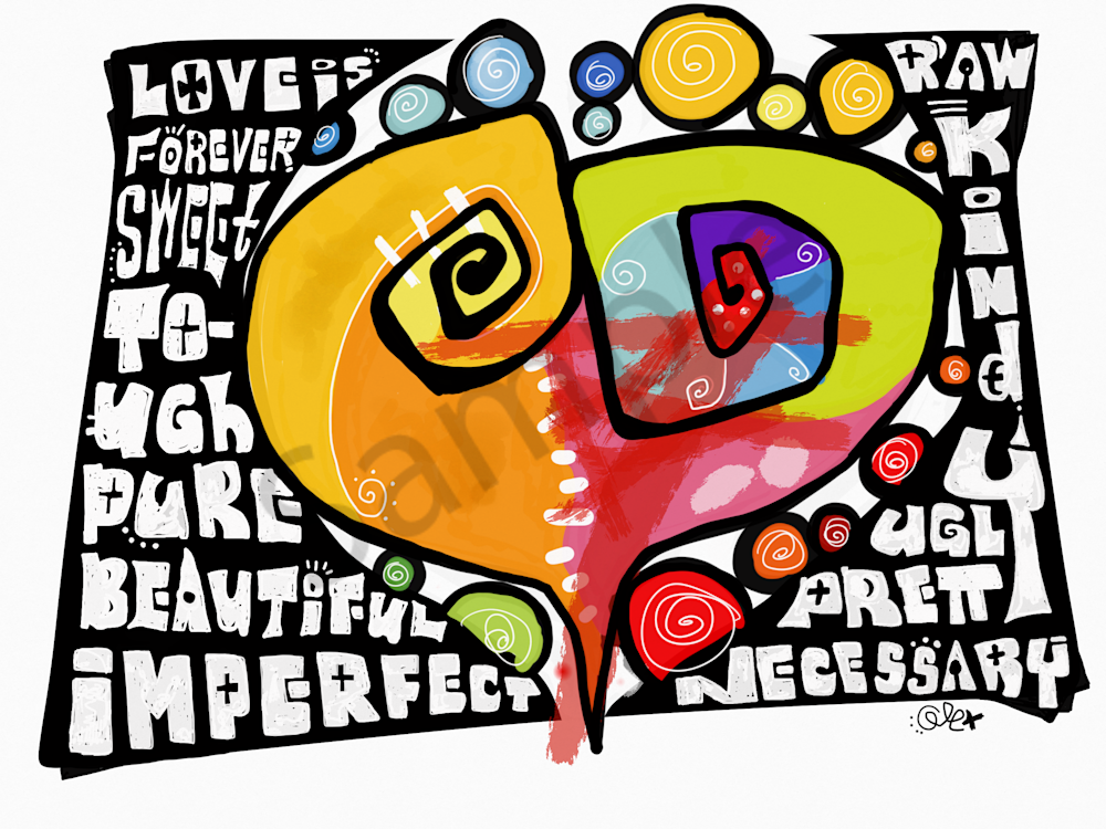Love Is ipad drawing. Printed art.