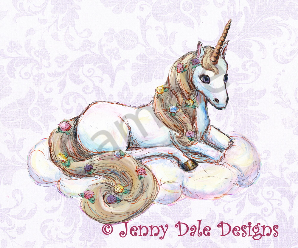 Sitting Unicorn With Purple Floral Background Art | Jenny Dale Designs
