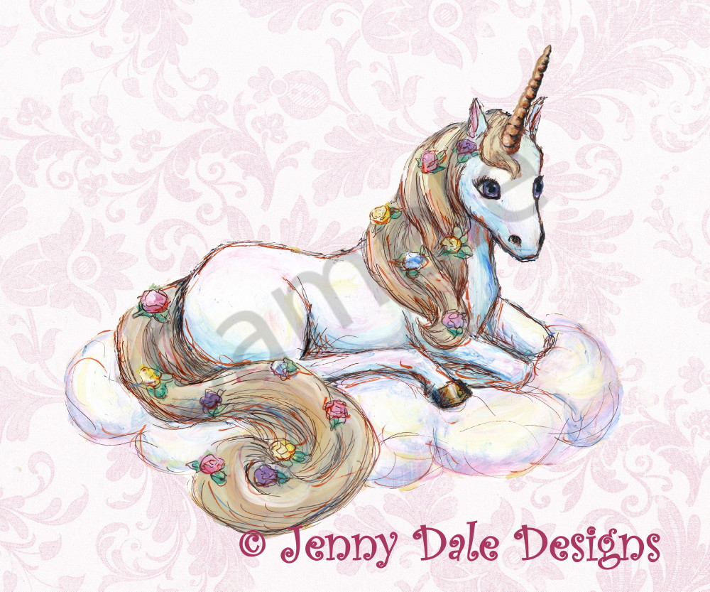 Sitting Unicorn With Pink Floral Background Art | Jenny Dale Designs