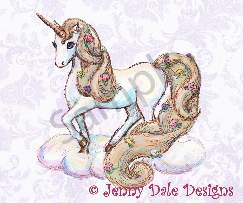 Unicorn Standing Purple Background   Art | Jenny Dale Designs