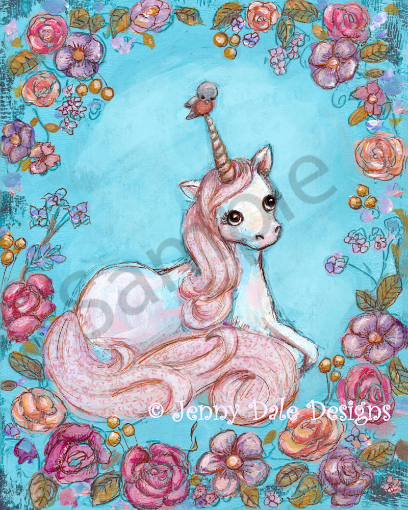 Unicorn and Floral Art Print | Jenny Dale Designs
