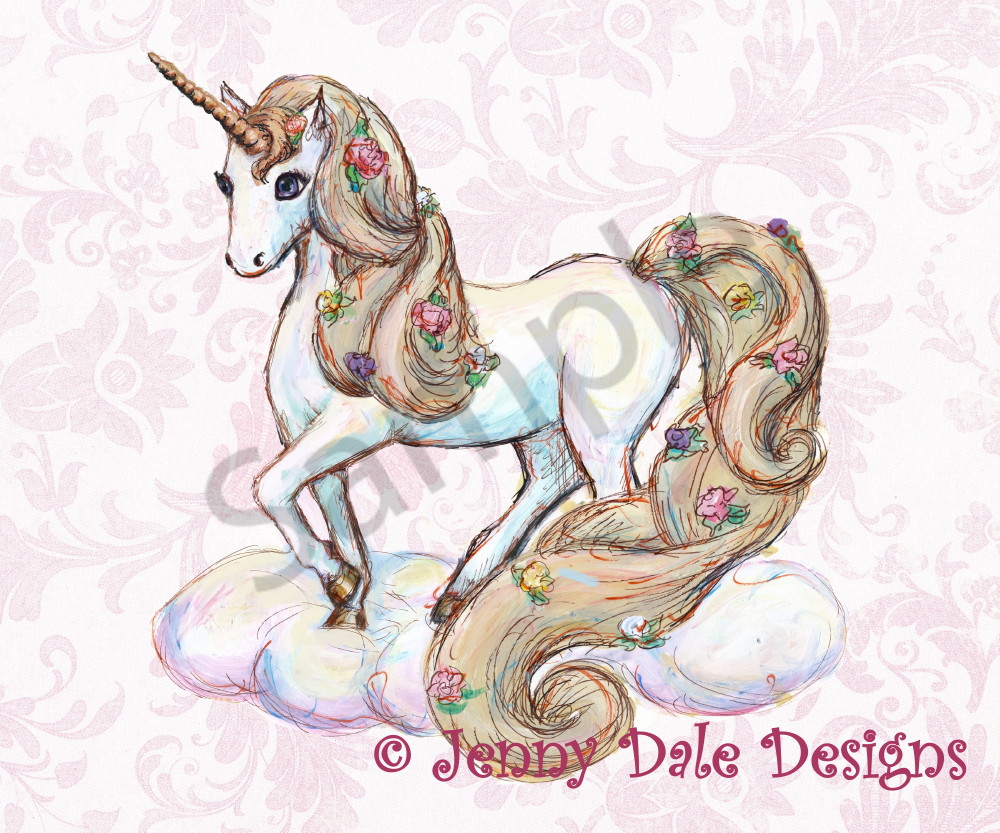 Unicorn Standing Pink Floral  Art | Jenny Dale Designs
