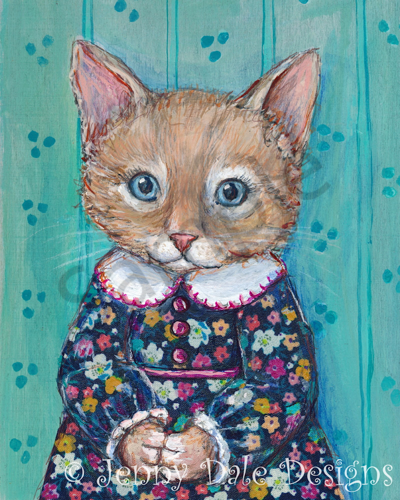 Jenny Kitty In Vintage Floral Dress Art | Jenny Dale Designs