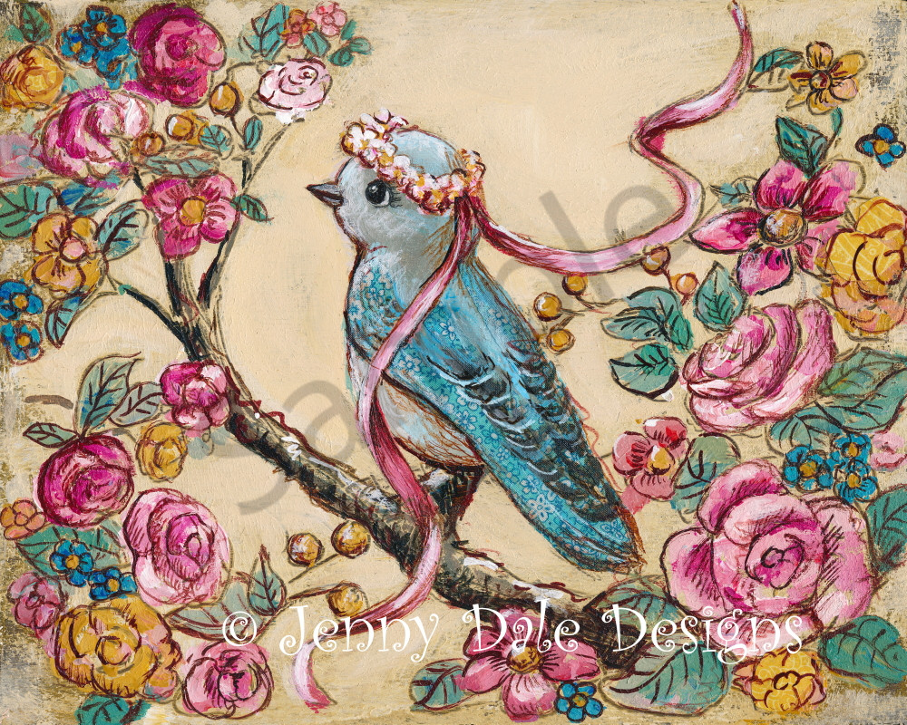 FLORAL Bluebird with vintage roses