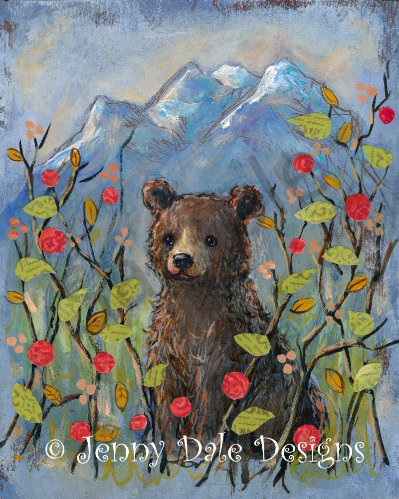 Kananaskis Bear In The Berry Bush Art   Jenny Dale Designs