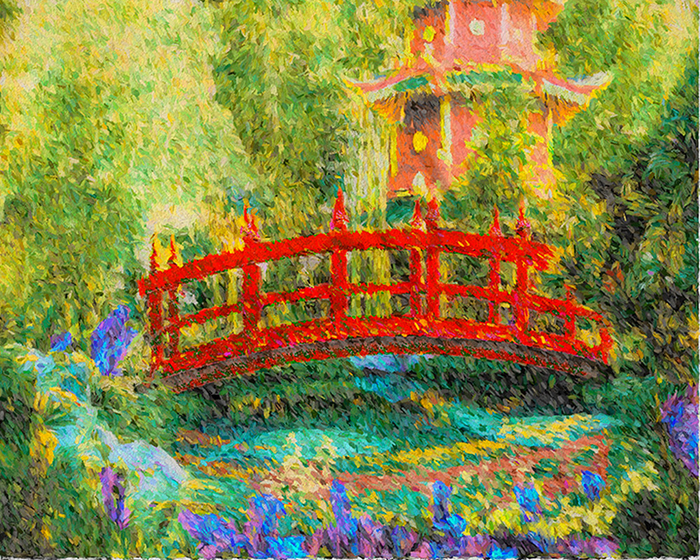 """Red Bridge, Japanese Garden"" Art | Digital Arts Studio / Fine Art Marketplace"