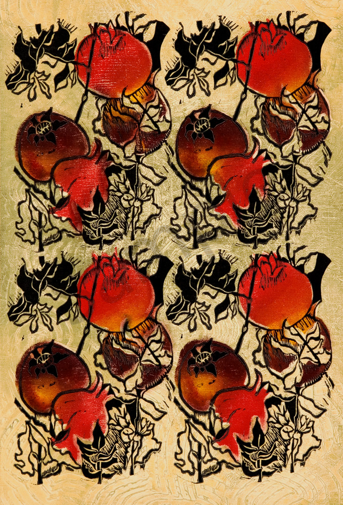 Fourplay-Pomegranate, a repeat pattern and original artwork for sale on canvas or fine art print by Ouida Touchon