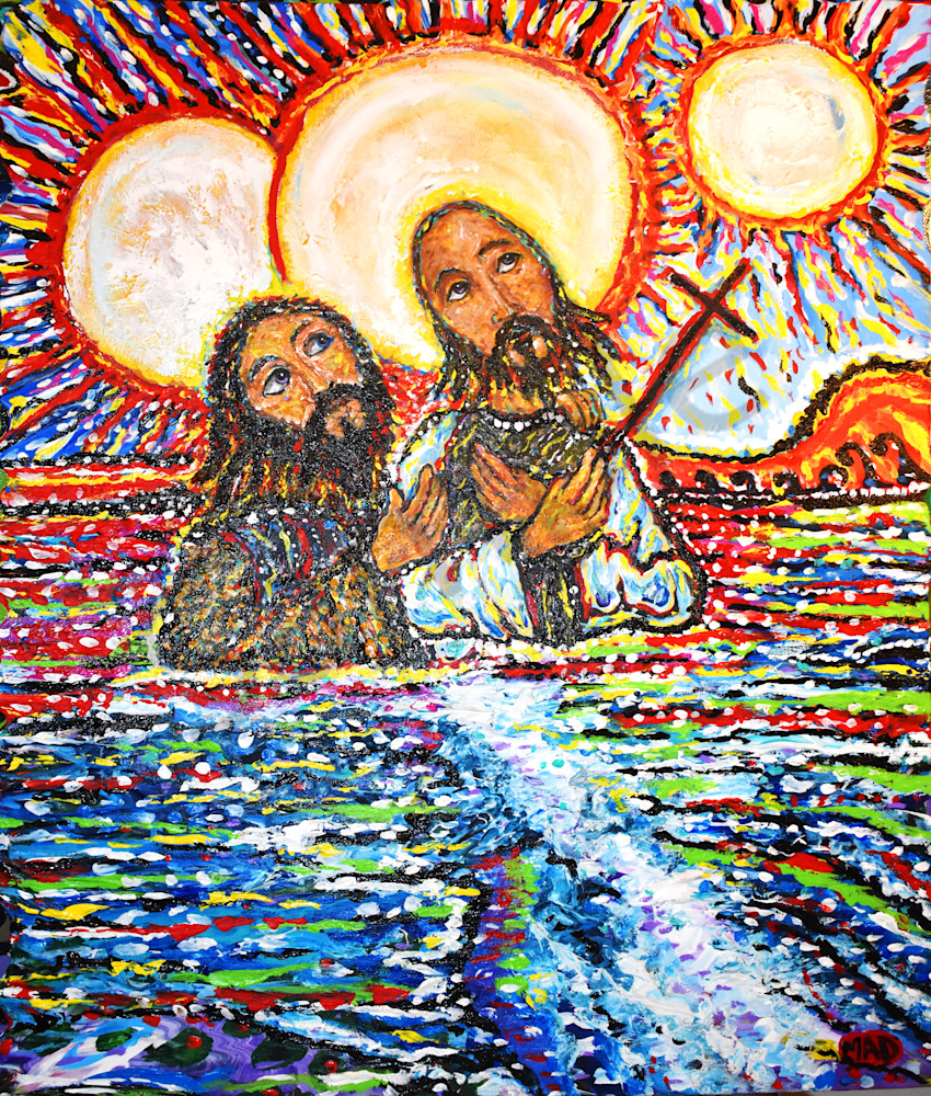 """John Baptizing Jesus in the Jordan River"" by Mark Durham 