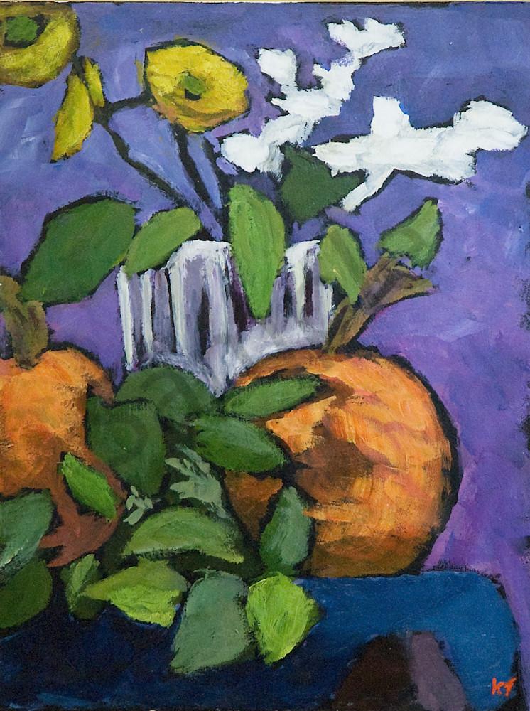 Still Life, Pumpkin And Glass Jar Art   Keith Thirgood