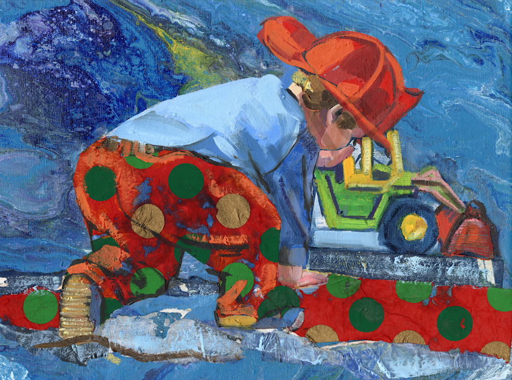 Oil Painting of a boy in red polka-dot trousers playing with a tractor.