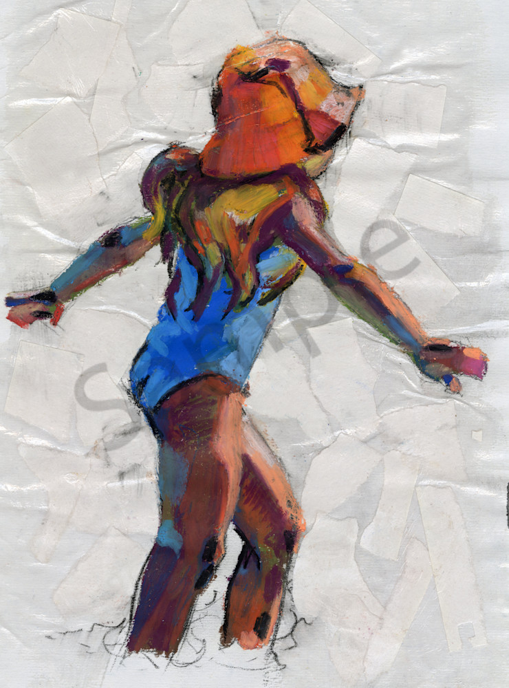 Artwork: Girl in a blue bathing suit on the beach in the sea dancing.