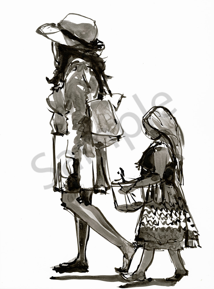 Ink drawing of a mother and daughter at the beach.