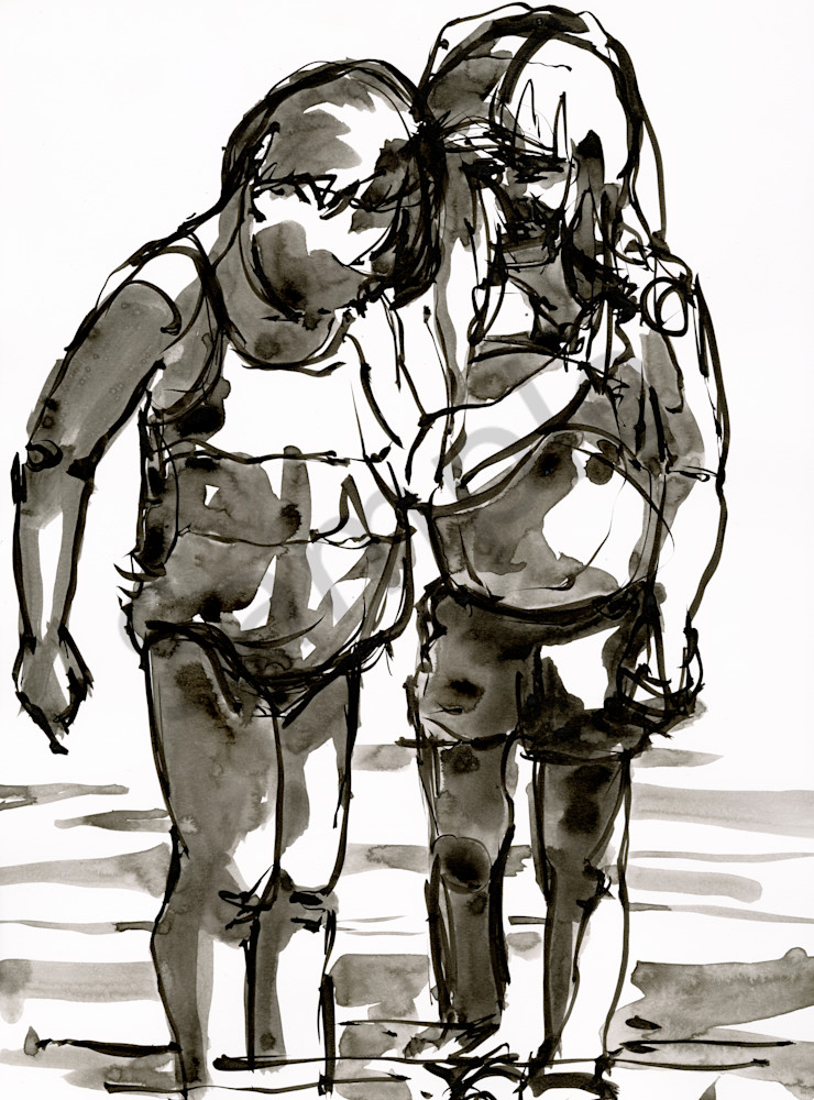 Two girls playing in the water painted with ink on paper by berends.