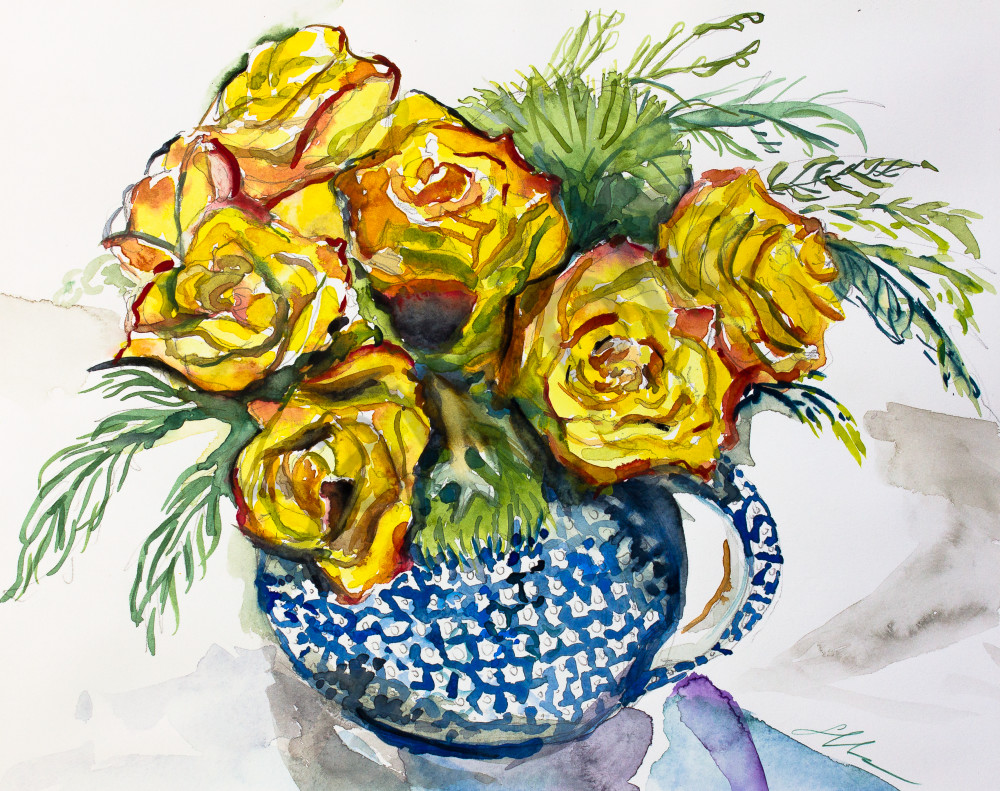 Yellow Roses, Blue Teapot Fine Art Print
