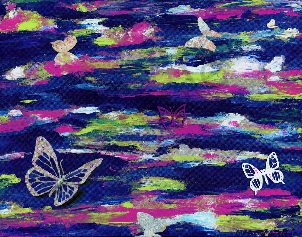 Mixed Media acrylic painting with 3D printed butterflies by Mary Anne Hjelmfelt titled 'Metamorphosis'