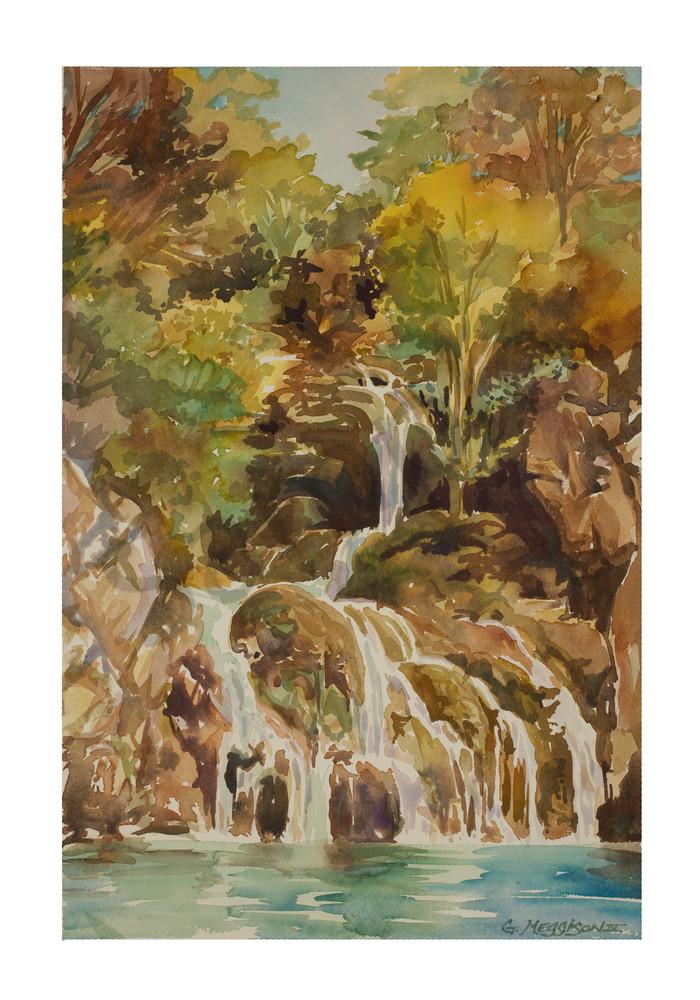 Falls of Gorge du Verdan, France | Watercolor Landscapes | Gordon Meggison IV