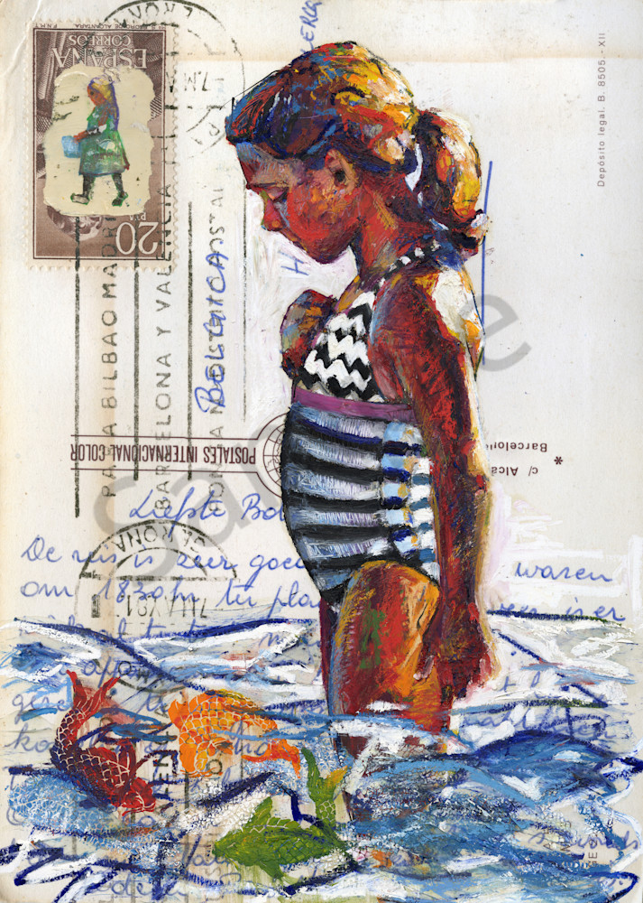 Artwork: Beach scene of a girl in striped bathing suit standing in the sea watching fish.