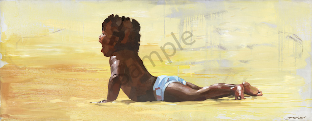 Painting of a Caribbean boy on the beach painted.