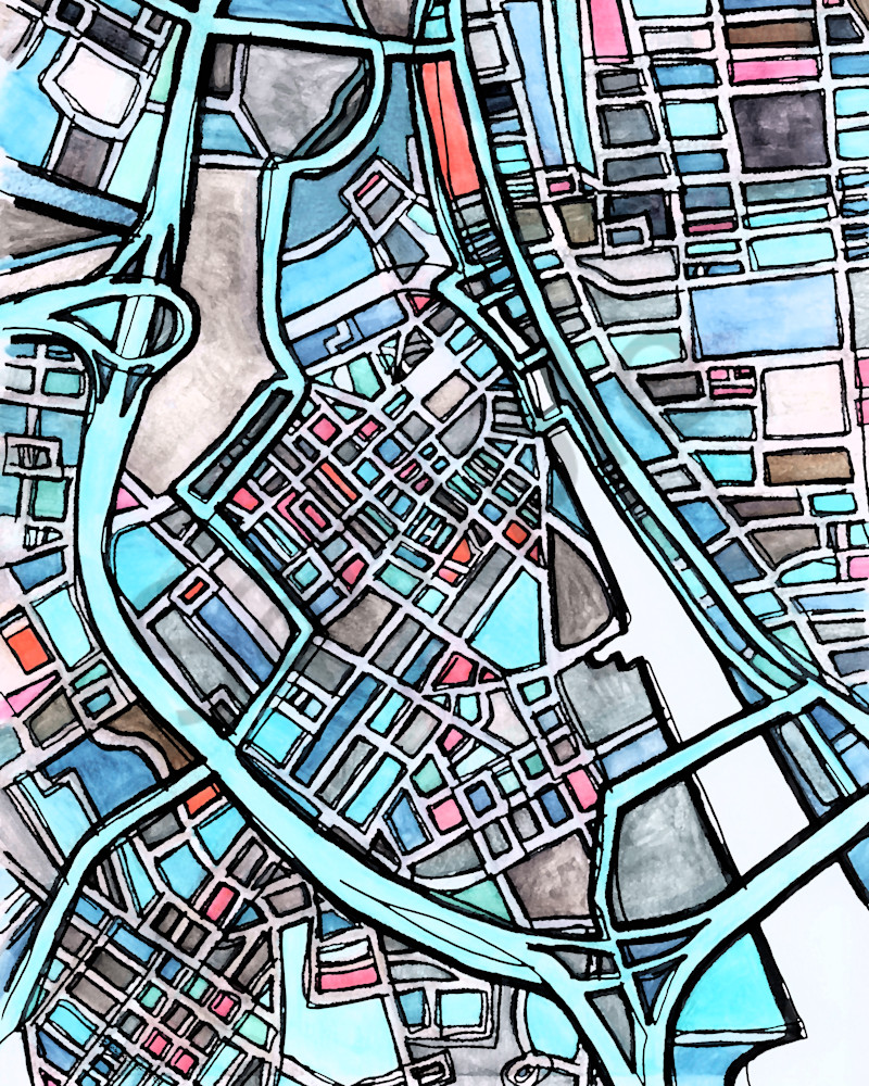 Abstract Office Art – Neighborhood Map of DOWNTOWN PROVIDENCE.  Abstract Map Print | Art Prints | Wall Art | Neighborhood Print