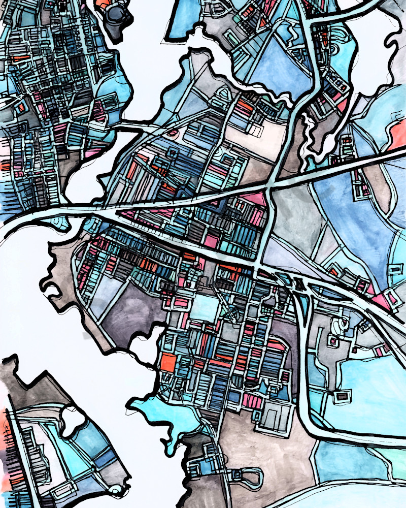City Neighborhood Map –Modern Wall Art of EAST PROVIDENCE. Abstract Map Print | Wall Art Print | Nursery Wall Art | Modern Map Art