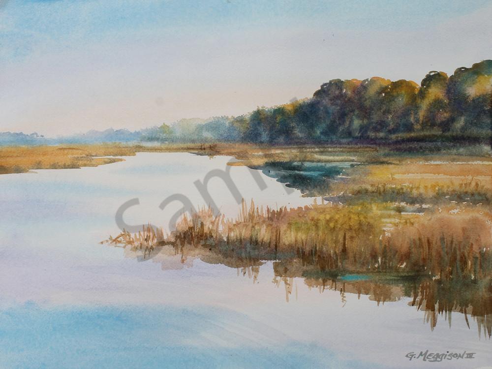 Morning Light on the Marsh 3 | Watercolor Landscapes | Gordon Meggison IV