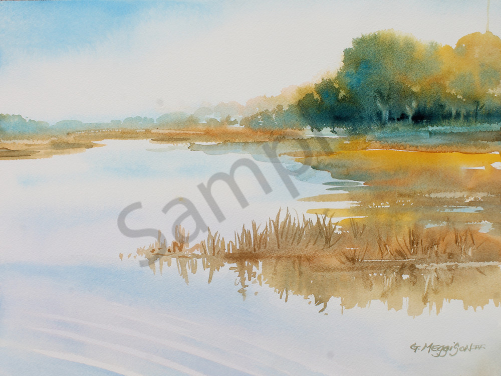 Morning Light on the Marsh 2 | Watercolor Landscapes | Gordon Meggison IV
