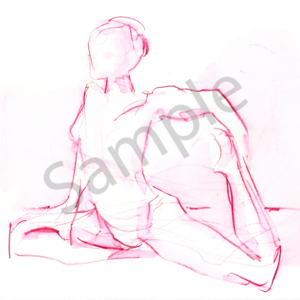 Pink Pigeon Yoga Pose Drawing  Art | Michelle Arnold Paine Fine Art