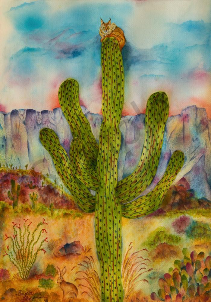 Saguaro and Bobcat Cactus art by Gayela's Premiere Watercolors|Main Store