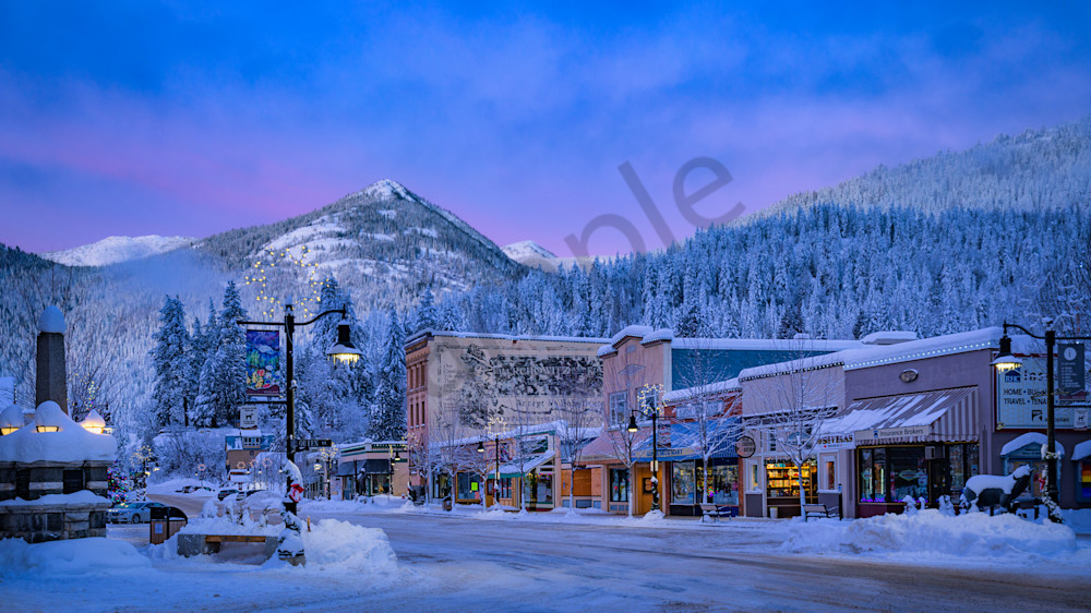 Rossland Main Street Early Winter Morning