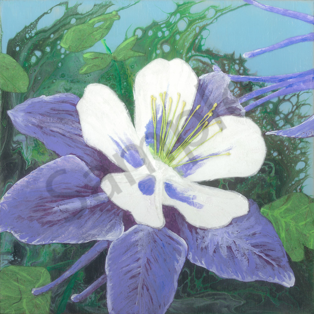 Columbine #2 Collage Painting by Jenny Goring