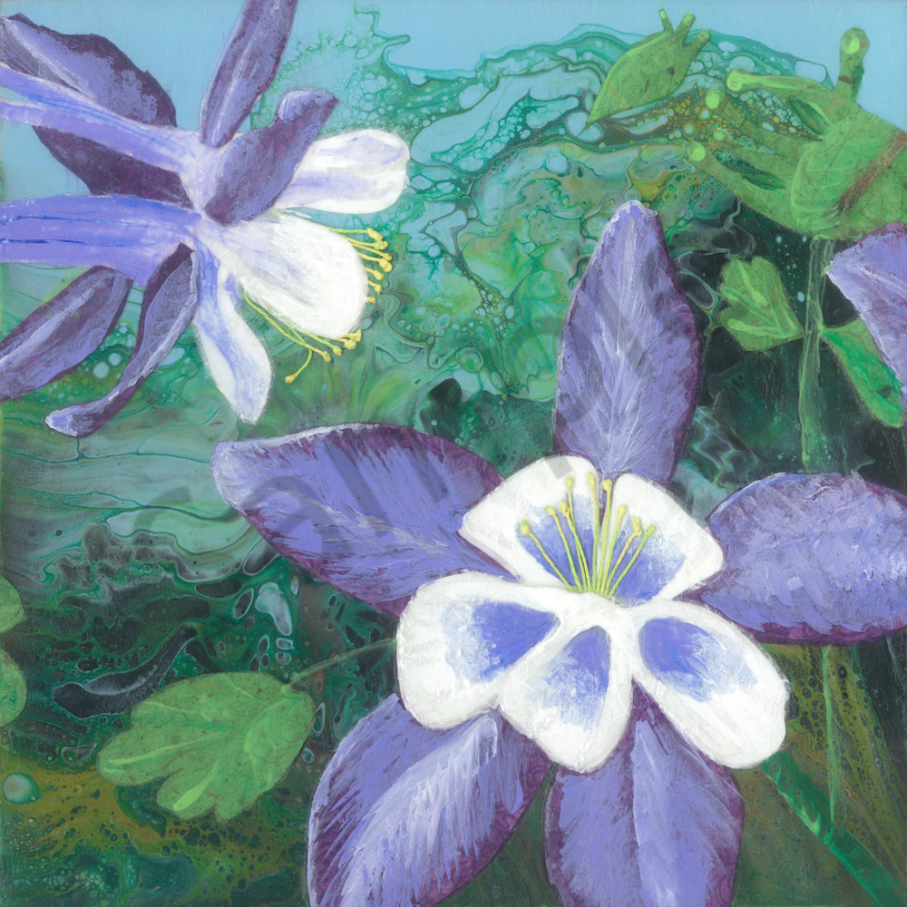 Columbine #3 Collage Painting by Jenny Goring