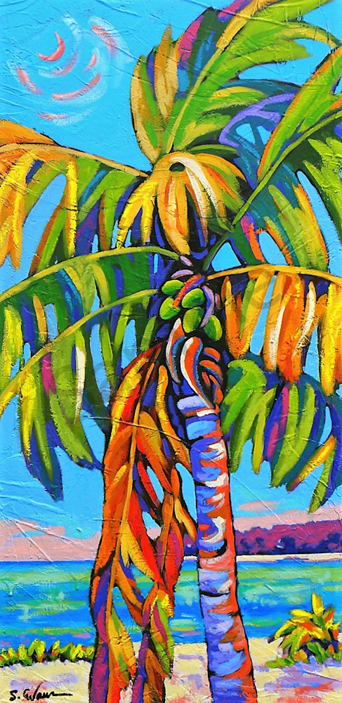 Coconut Jazz In Blue Web Art | Sally C. Evans Fine Art