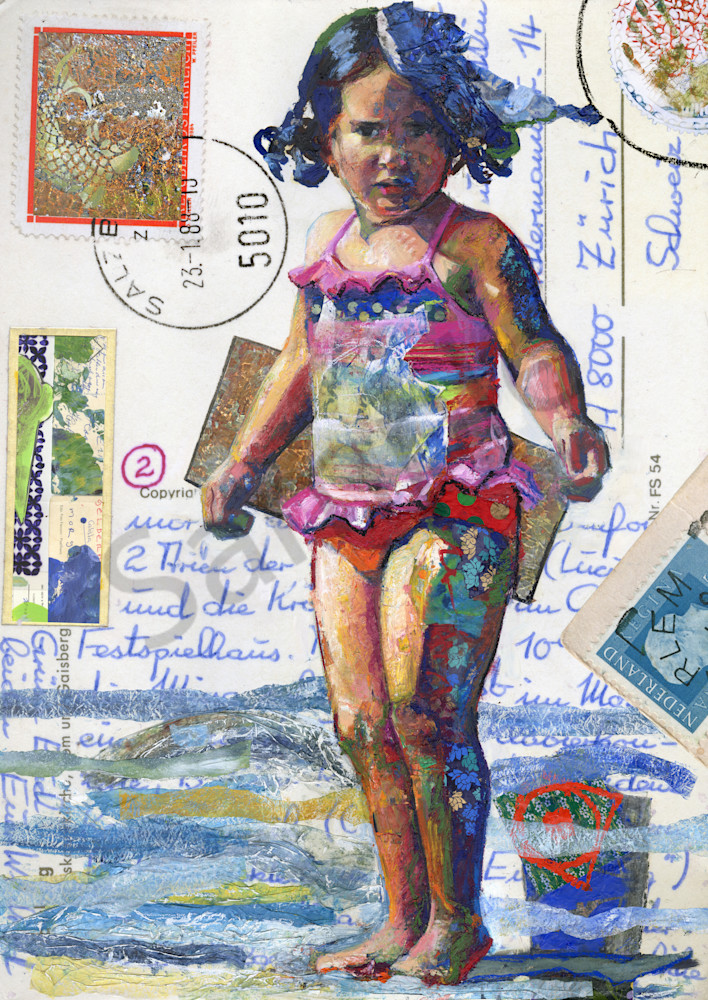 Contemporary Painting of a Beach Girl by Bianca Berends.