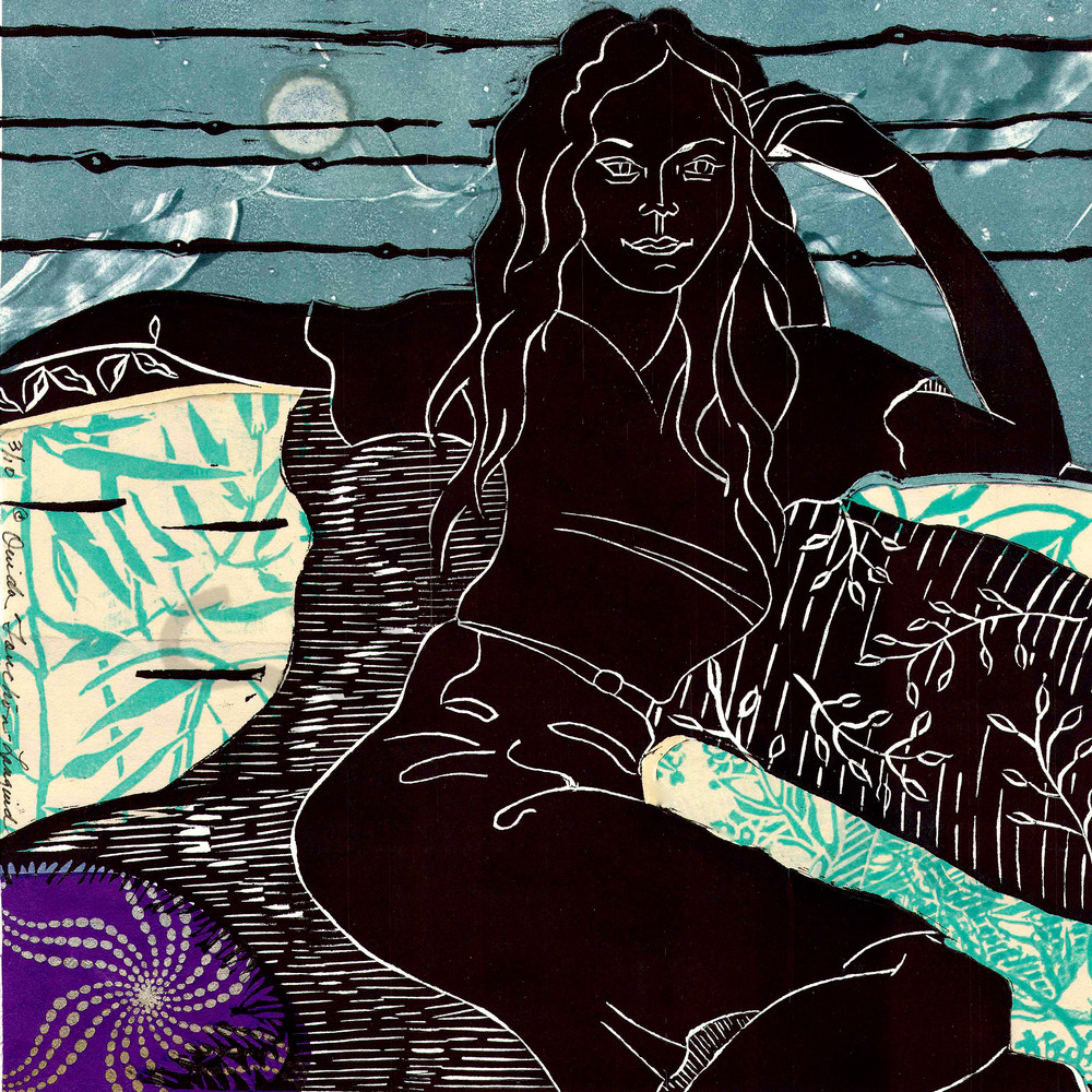 'Languid'-original linocut handprint for sale|Ouida Touchon