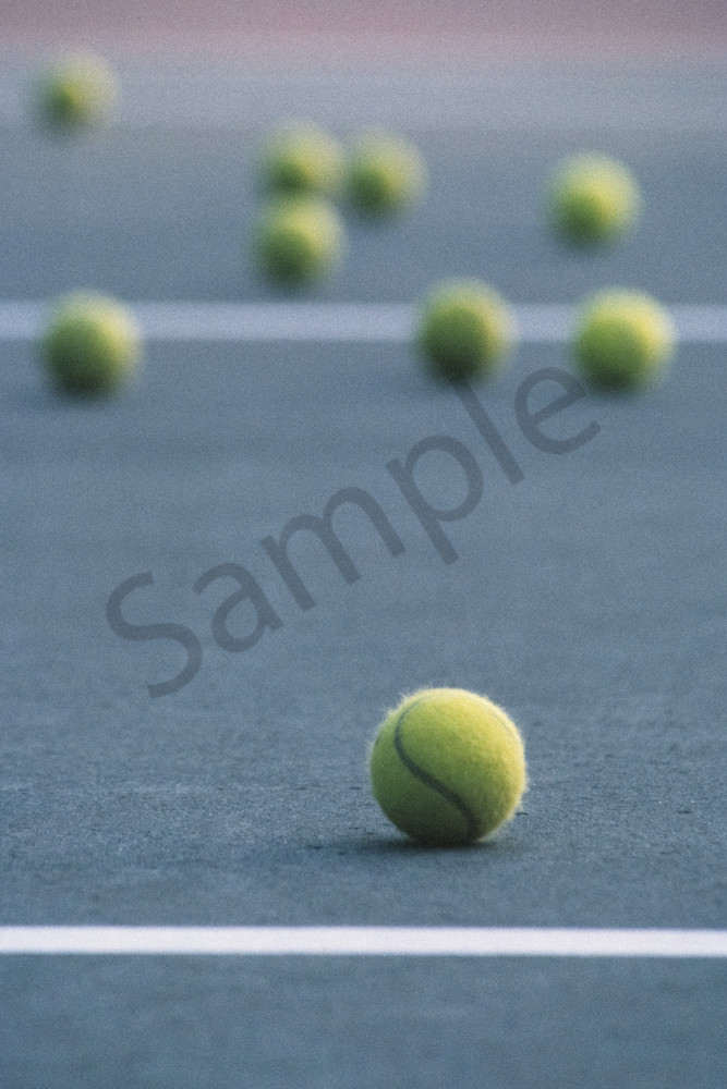 Tennis Balls On A Tennis Court During Practice
