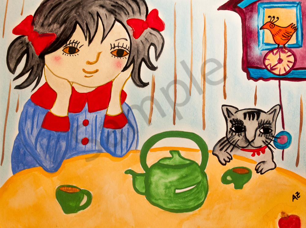 Tea time girl and cat 2