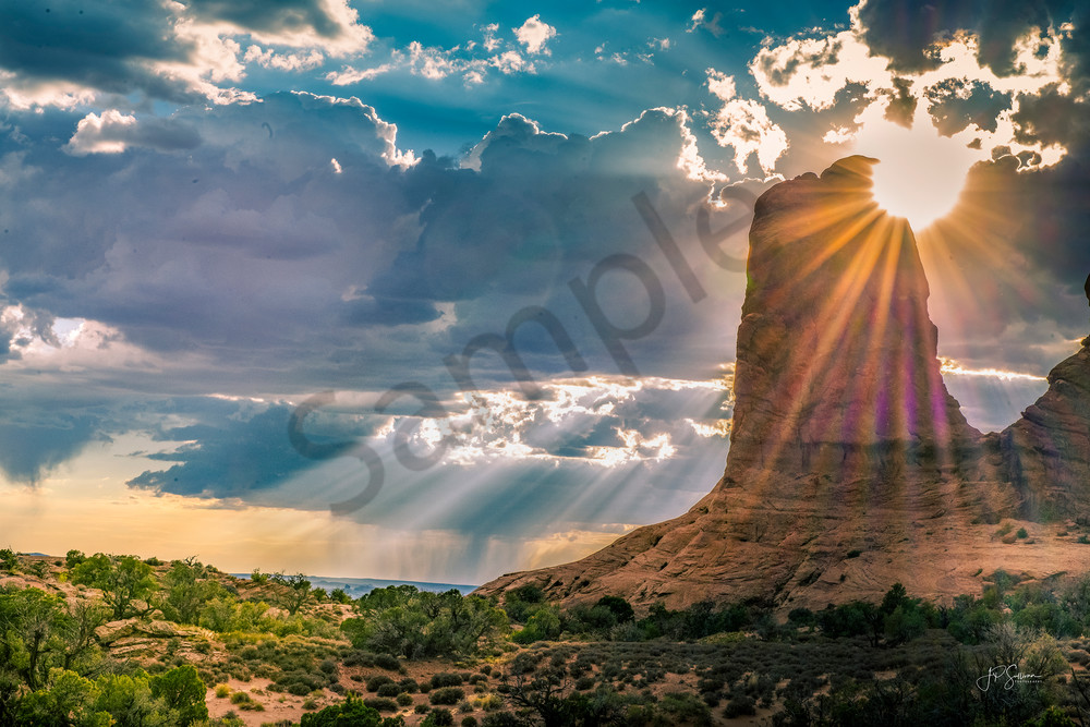 Heavenly Sunrays shining through Moab Clouds - Fine Art - Photography prints - photo by JP Sullivan Photography