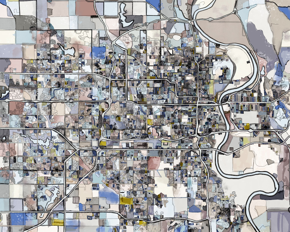 Abstract Map of Omaha NE